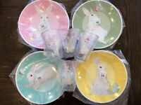 Pottery Barn Kids 8 Pc Springtime Bunny Easter Plates Tumblers Cups Gingham Set