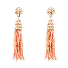 Handmade Bohemia Women's Jewelry Long Beads Seed Tassel Drop Stud Earrings Orange