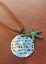 Ocean Starfish ♡ Pendant Necklace Shell Blue Beach Surfer Turquoise Gift Leather