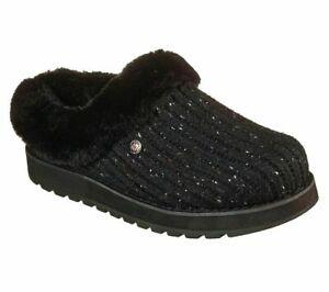 Womens Skechers Bobs Keepsakes Slip On Memory Foam Warm Slippers Size UK 4