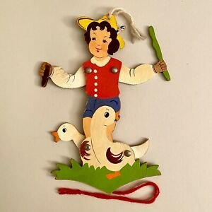 1950er Holz-Hampelmann 23cm Kragen-Junge SHABBY CHIC Gans Deutsch Vintage ALT