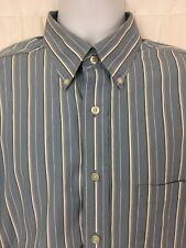 Turnbury Mens Dress Shirt Signature Poplin Blue White Striped Long Sleeve Size L