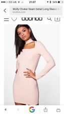 New Boohoo Night Chocker Detail Blush Nude Long Sleeve Fitted Dress Size 10