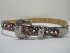 """Ladies Lg western leather belt pink camo 11/4"""" wide cross concho and rhinestones"""