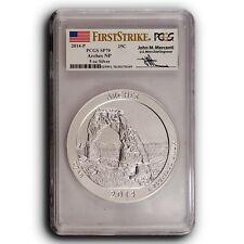 2014 P Arches PCGS SP70 First Strike ATB 5 oz Silver Coin Mercanti Signature