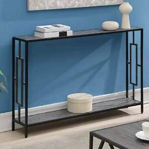 2 Tiers Console Table Hallway Entryway Slim Table Grey with Shelf Side Storage