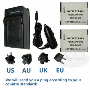 2X DMW-BCM13E Battery + Charger For Panasonic DMC-ZS30GK TZ60 TZ40 TZ41 TS5 ZS27