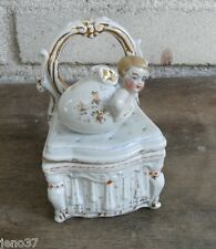Beautiful Antique Conta & Boehme Trinket Box Baby Angel in Egg On Dresser
