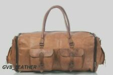 Genuine Expandable Overnight Leather Vintage Duffel Travel Overnight Weekend Bag