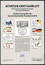 BRD KÜNSTLER-ETB 1988/3 D.-FR.ZUSAMMENARBEIT KÜNSTLER-ERSTTAGSBLATT LTD EDITION