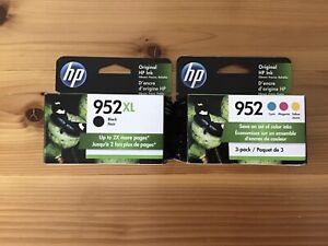 New Genuine HP 952XL Black & 952 Tri-Color Combo Pack. Expires  Sept. 2022