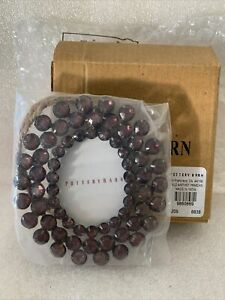 """Vintage New Pottery Barn 2x3"""" Clear Amthst Jeweled Circular Picture Frame"""