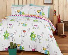 Happy Llamas Single Duvet Cover Set Bedding Cactus Aztec Pattern - 2 in 1 Design