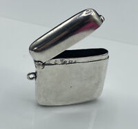 Antique Edwardian 1907 Birmingham Hallmarked Solid Silver Plain Vesta Case 24g