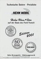 Preisliste Hehn Mobil + Rhein Star Reisemobil Ford Transit 2001 Wohnmobil Preise
