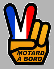 MOTARD A BORD MAIN VICTORY HAND FRANCE 120x90mm AUTOCOLLANT/STICKER-MOTO(MA166)