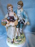 Large Vintage Porcelain Andrea Sadek Figurine Colonial Couple # 7578