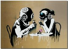 "BANKSY STREET ART *FRAMED* CANVAS PRINT Think Tank 24x16"" stencil -"