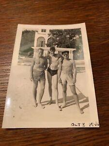 1940s Naval Air corps Bulge Affectionate Men Gay Interest Vintage B & W Photo