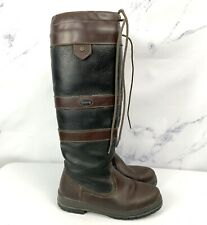 Dubarry Galway Slimfit Brown Black Leather Tie Knee High Boots UK 3 US 5 EU 35