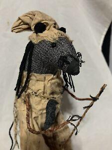 "10"" Crone Witch Mouse Rat w/ Broom & Raven CK Prims Original Art Cloth Sculpture"