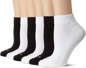 HUE Women's Quarter Top Sock with Cushion 6-Pack Black/Multi One Size
