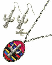 Desert Cactus Serape Pendant Necklace Set - Red Print