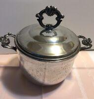 Vintage Silverplate Ice Bucket w/ Handles Pyrex Glass Liner & Lid Tarnish Patina