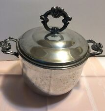 Vintage Silverplate Ice Bucket with a Pyrex Glass Liner