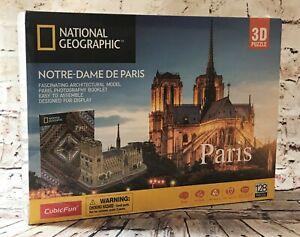 National Geographic 3D Cubic Puzzle | 128 Piece PARIS France Notre Dame De Paris