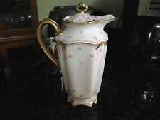 Vintage Limoges France GDA France Chocolate with Pink Roses and Heavy Gold Trim