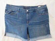 "Ladies ""Rock&Republic"" 24W, Blue, Distressed, 'Bumpershoot' Cuffed Denim Shorts"