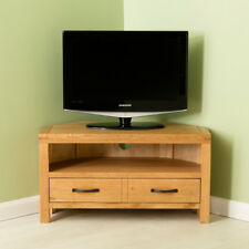 Abbey Waxed Oak Corner TV Stand Unit with Drawer Solid Wood Television Cabinet