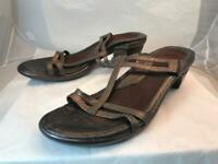 NAOT Sz. 41  10  METALIC COPPER PEWTER  STRAPPY SLIDE SANDALS WOMEN'S