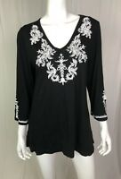 Monroe And Main Women's Large Black Embroidered Knit V-Neck Tunic Top Shirt Boho