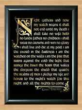 Game of Thrones Watcher on The Wall Knights Watch Poem Oath TV  A4 Print Poster