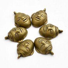 Vintage hunter head 6 Charms Naga Antique Brass Tibetan Nepalese Handmade CHS31A
