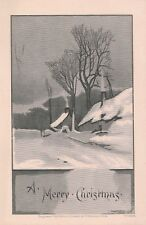 """Kappysstamps L3 Merry Christmas 5""""x3"""" Antique Lithograph Lowell Co Boston Mass"""