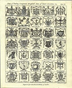 Antique engraving, Arms of Trading Companies, Hospitals, Inns of Court, Societie