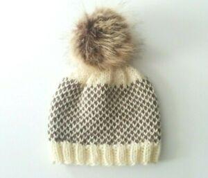 Hand Knit Warm Wool Fair Isle Ivory & Brown Winter Hat Size 3-12 Months Baby