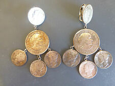 Antique vintage American Liberty head coin dangle earrings 1942s 1935s 1928s