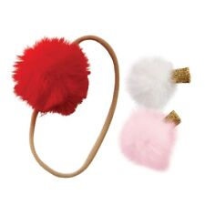 Mud Pie E8 Baby Girl Christmas Holiday Kids' Shoppe Fur Puff Headband & Clip Set