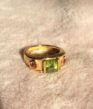 Princess Cut Yellow 18k Gold Green Peridot Pink Tourmaline Ring Designer Style