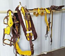 BIOTHANE QUICKHITCH HARNESS BROWN & YELLOW PIPPING PONY SIZE