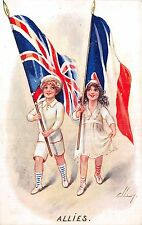 POSTCARD    MILITARY    PATRIOTIC    ALLIES             ELLAM