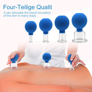 4 Cups Cupping Therapy Set Vacuum Massage Body Suction Medical Thick Glass Size