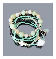 Set 6 Armbänder Elastischer-Armband Ibiza  Brasilien Böhmische Perlen Dehnbar