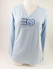 Trust Your Journey Women's Blue Faith Hope Love V-Neck Shirt Long Sleeves M NWT