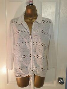 Ladies TU White  Cotton stretch  Button Down tie front Shirt Size 12