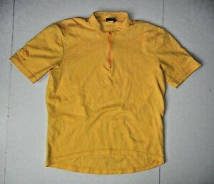 Vtg 90s NIKE ECHELON Bright Yellow CYCLING JERSEY Bike Riding Gym Shirt Men's M